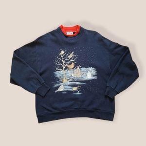JERZEES grandma sweater vintage 90s birds large